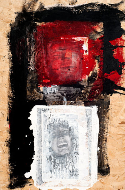 Bataclan, 2015, mixed media on wood, cm 80x122